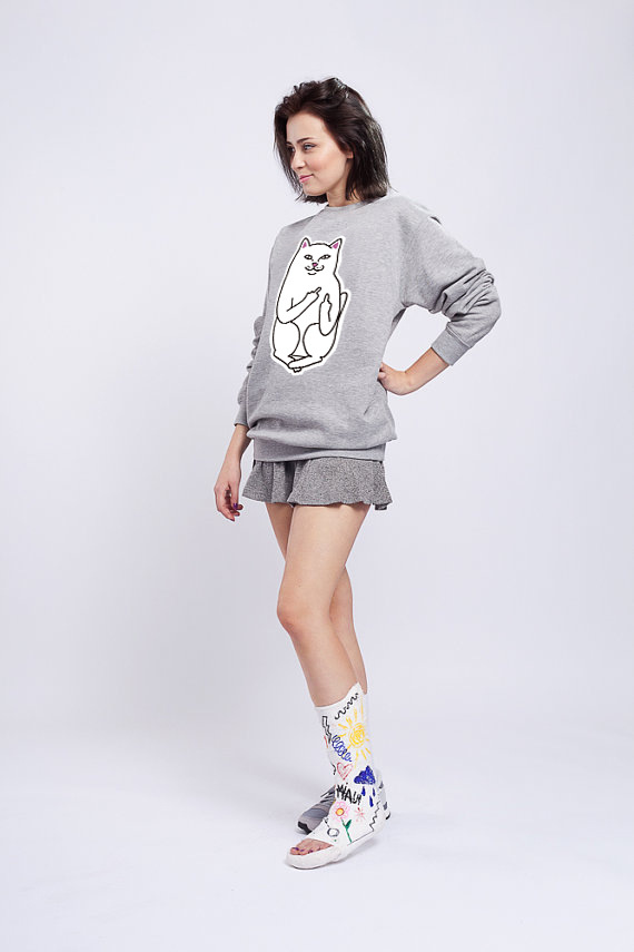 Ripndip Europe And America Popular Brand Couples Pocket Finger Cheap Cat Figure Printed Hot Selling Hoodie