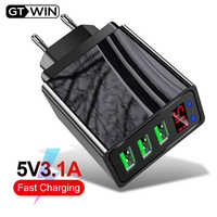 Gtwin 3A LED Display USB Charger Quick Charge 3.0 EU US Mobile Phone 3 Ports Fast Wall Charger For iPhone 11 XS 7 Samsung Xiaomi