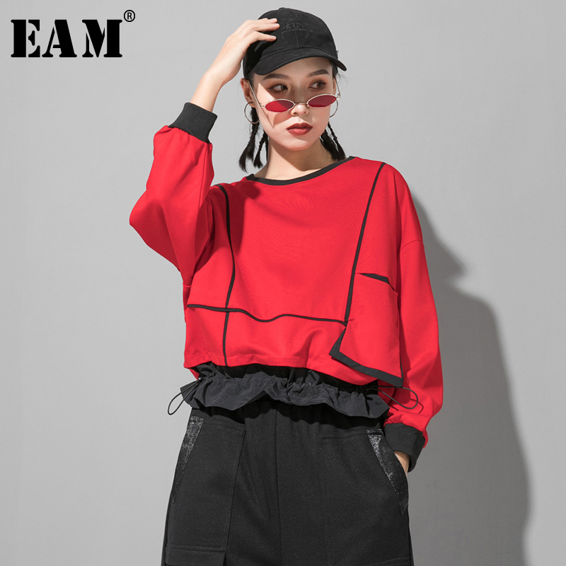 [EAM] Women Red Ruffles Split Joint Big Size T-shirt New Round Neck Long Sleeve  Fashion Tide  Spring Autumn 2020 1R418
