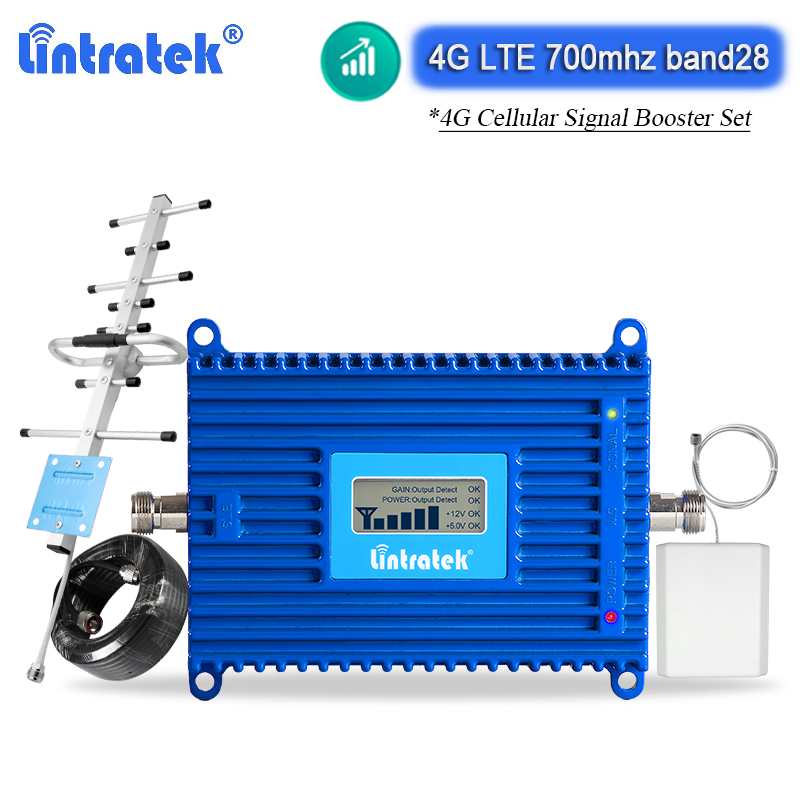 Band 28 Lintratek 4G 700mhz LTE Cellular Signal Booster ALC/AGC Amplifier LCD Display Cell Phone Signal Repeater 70dB Internet