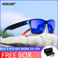 KDEAM Mens Polarized Sunglasses 2018 New Square Sport Sun Glasses Outdoor Mirror lens Elmore 6 Colors UV400 With Case CE KD505