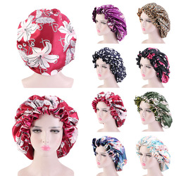 Extra Large Satin Lined Bonnets Women African Pattern Print Fabric Bonnets Night Sleep Hat Ladies Turban Double layer Head Wraps