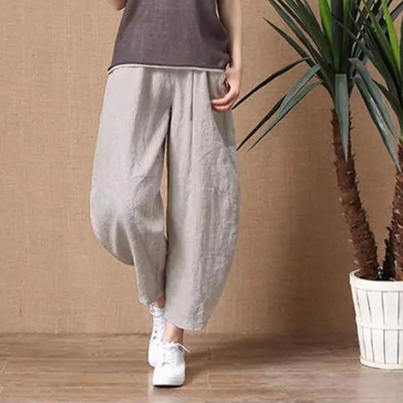Yiwa Women   Pants   Cotton Summer Loose Cotton Linen Elastic Waist   Wide     Leg     Pants   Breathable Women's Clothing Nine-cent   Pants