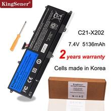KingSener C21 X202 Bateria Do Portátil para ASUS VivoBook S200 S200E X201 X201E X202 X202E S200E CT209H S200E CT182H S200E CT1 5136mAh