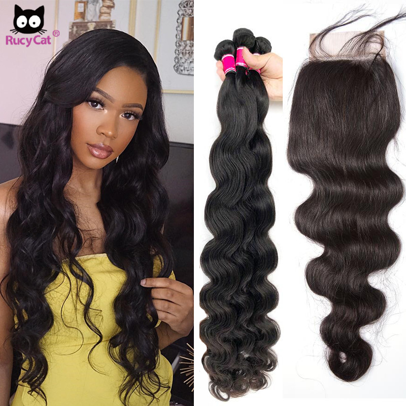 Rucycat волнистые пряди с закрытием бразильские волосы 5x5 кружева закрытие и 30 дюймов Пряди 100% человеческие волосы пряди с закрытием