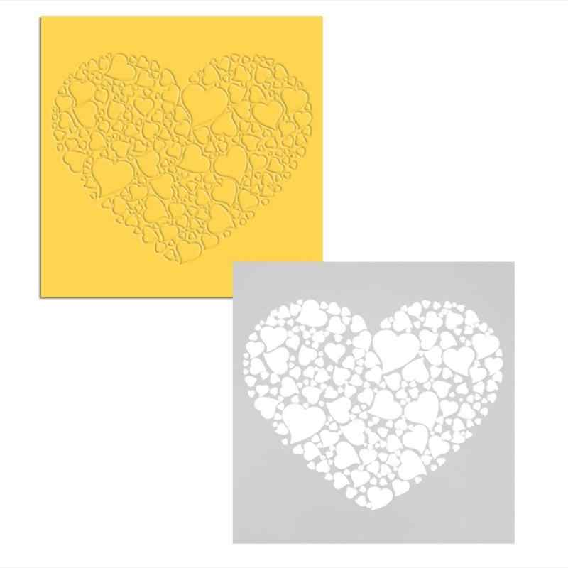 Decoração Do Casamento Do amor Do Coração Do Bolo Stencil Fondant decoração Cupcake Template Buttercream Molde DIY Ferramentas de Decoração Do Bolo