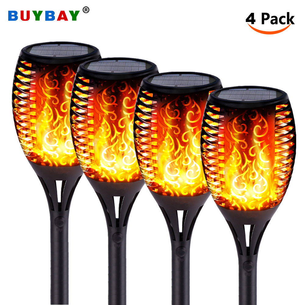 Solar Torch Lights With Flickering Flames IP65 Waterproof Outdoor Dancing Flame Torches For Garden Patio Fence Pathways