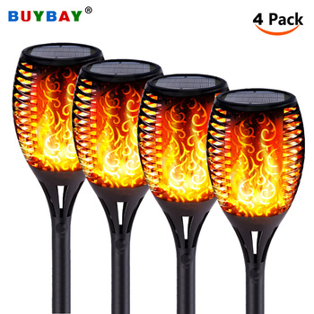 Solar Torch Lights With Flickering Flames IP65 Waterproof Outdoor Dancing Flame Torches For Garden Patio Fence Pathways image