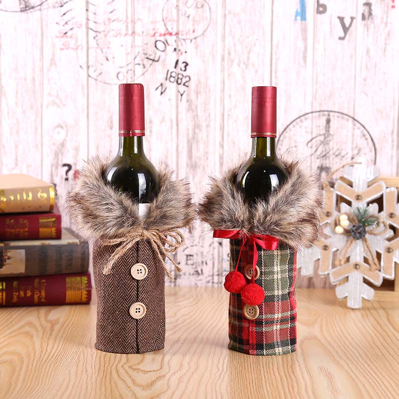 Christmas Wine Bottle Decor Clothes Style Wine Bottle Bags Kitchen Decoration For New Year Xmas Dinner Party C2328