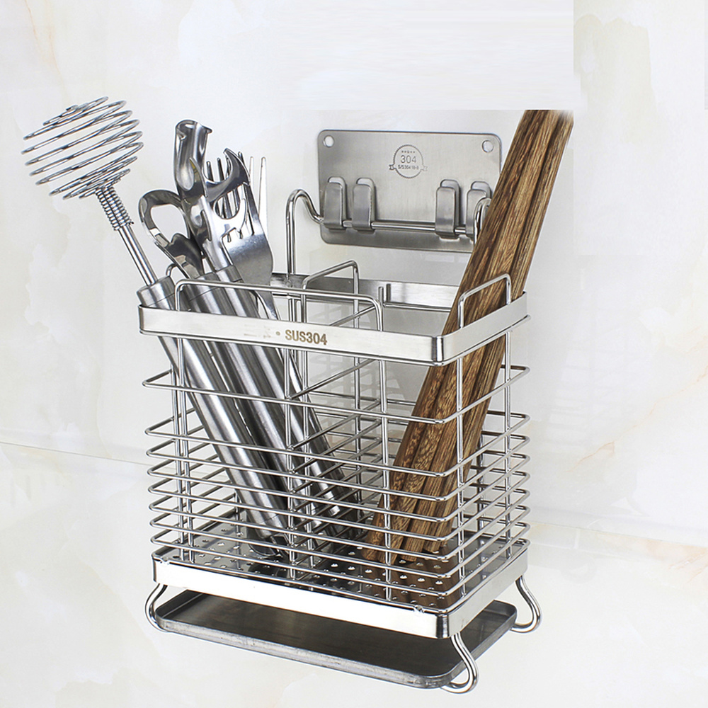 A1 304 Stainless Steel Chopsticks Tube Kitchen Household Drain Chopsticks Cage Wall Hanging Suction Cup Storage Rack Wx8311057