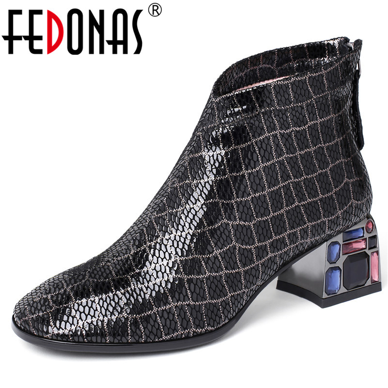 FEDONAS Autumn Winter Blingbling Crystal Party Shoes Woman Quality SheepSkin Women Ankle Boots Classic Big Size Short Boots-in Ankle Boots from Shoes    1