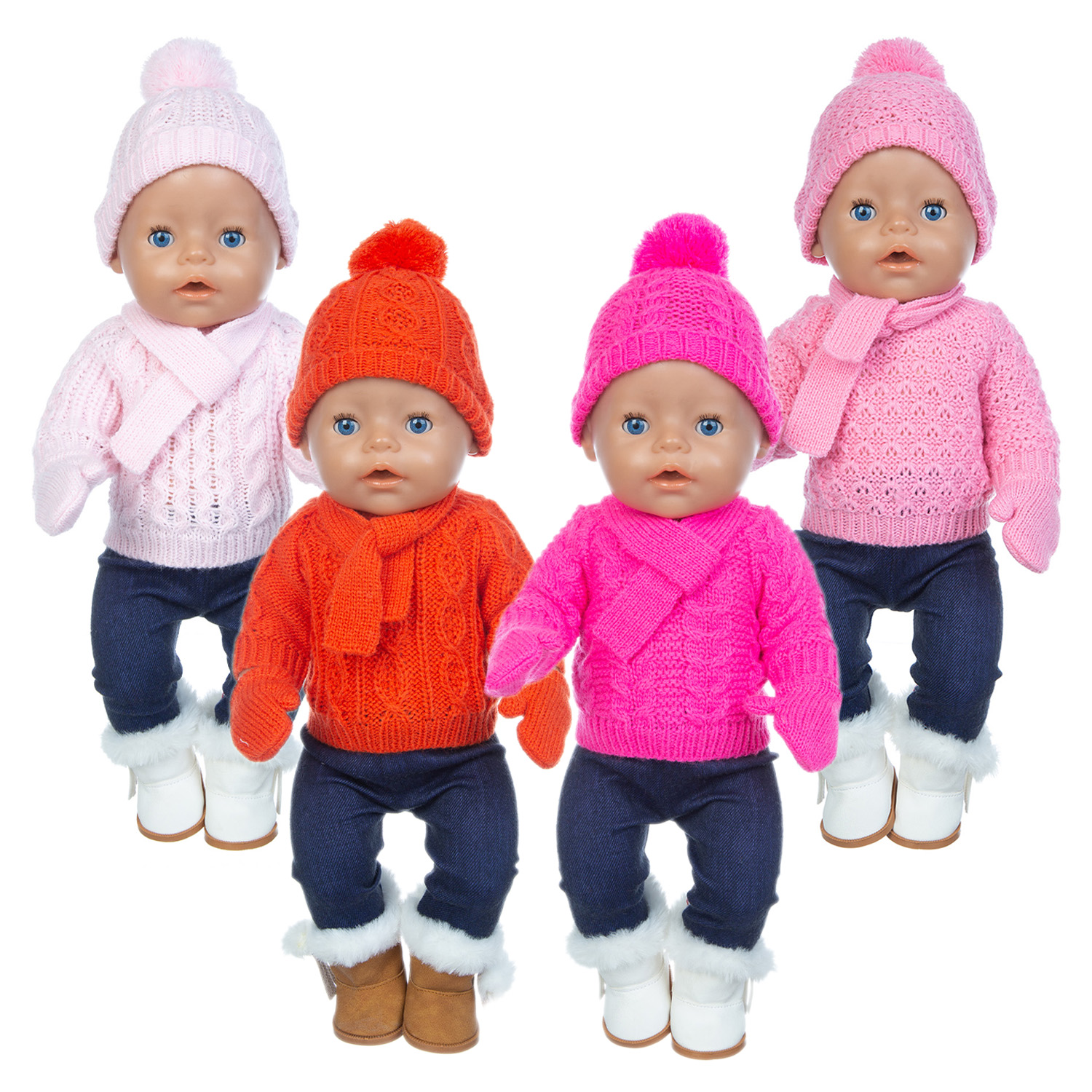 1Set Sweater Suit+hat+scarf +gloves Fit 17inch 43cm Doll Clothes Born Baby Suit For Baby Birthday Festival Gift
