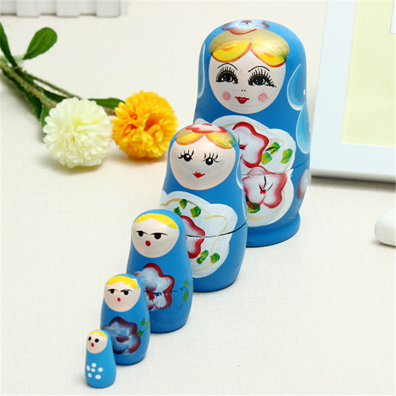 5PCS/Set Lovely Wooden Russian Matryoshka Wooden Dolls Nesting Babushka Hand Paint For Kids Christmas Gifts