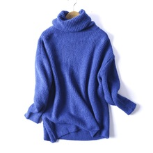 Knitted Turtleneck Sweater Pullovers Collar Oversize-Basic Warm REJINAPYO Female Women