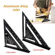 7/12 polegada métrica ângulo régua woodwork velocidade triângulo quadrado ângulo transferidor preto diy liga de alumínio triangular medição régua
