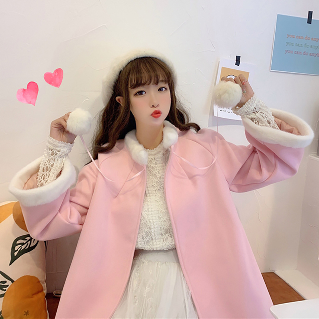 Sweat Outerwear women's autumn and winter 2020 new sweet and lovely wool collar loose tie cloth Cape long student coat 3