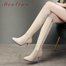 Meotina Women Boots Autumn Knee High Boots Zipper Thin Heels Long Boots Slim Extreme High Heel Shoes Lady Winter Big Size 34-43 стоимость