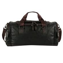 Men's Black Handbag Travel Bag Waterproof Leather Large Capacity Duffle Multifunction Tote Casual Crossbody Bags