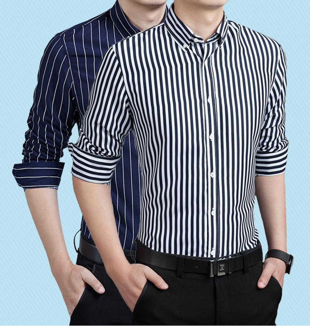 Classic Striped Shirt Male Social Vertical Stripes Men Spring Autumn Long Sleeve Formal Business Casual Shirt Top Plus Size