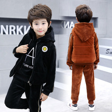 Autumn Winter Fashion girls Boy Hoodies Toddler Hooded Tops Long Pants vest Outfits  3pcs Set Kids for 6 8 10 12 15 year