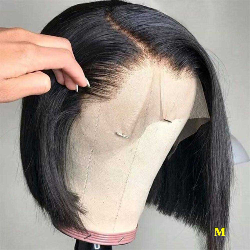 13x6 Transparent Bob Peruvian Straight Lace Front Human Hair Wigs Remy Invisible Undetectable 150% Lace Front Wig For Women