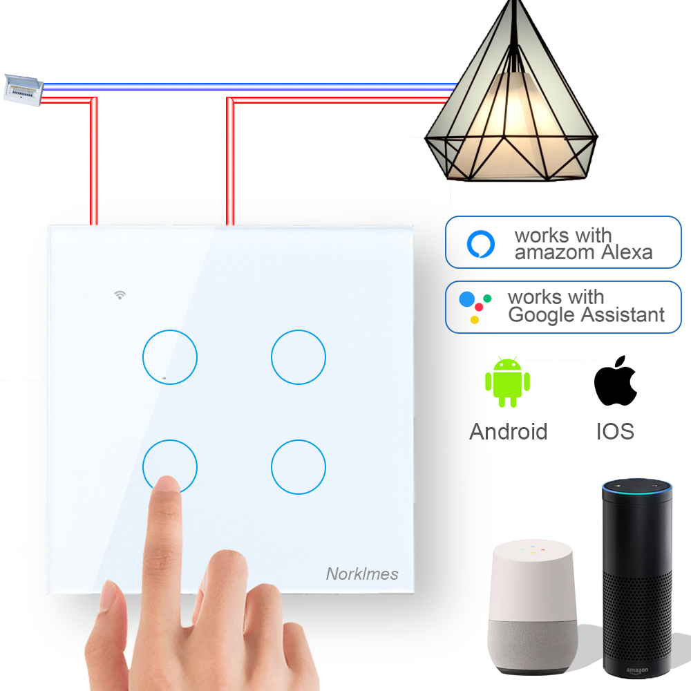 Smart Switch 1 2 3 4 Gang Work With Alexa Google Home APP Control WiFi Wall Switch Toughened Glass Panel