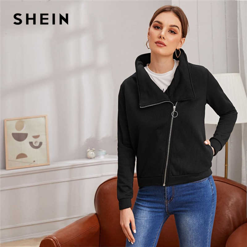 SHEIN Black O-ring Zip Up Bike Jacket Women Spring Autumn Long Sleeve Pocket Casual Outwear Solid  Jackets