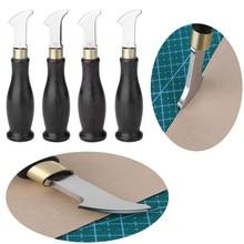 Ebony lidar com borda de couro creaser leathercraft marcação borda decorar linha ferramenta lâmina de aço inoxidável rasa sulco linha imprensa