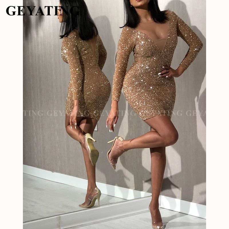 Glitter Sequin Short Rose Gold   Cocktail     Dresses   Long Sleeves Sexy V-Neck Arabic Formal Party Gowns Homecoming Graduation   Dress