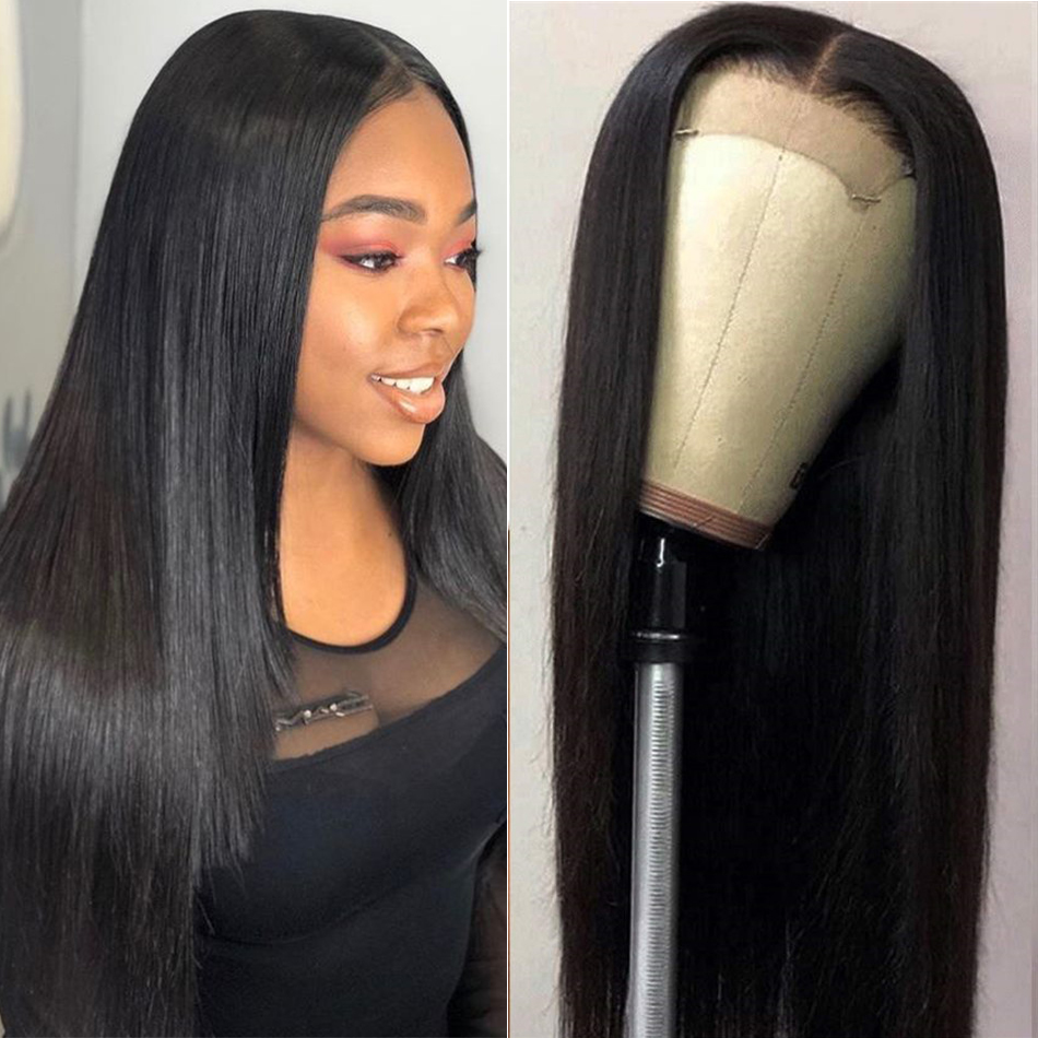 Liddy Wig 4x4 Lace Closure Wig Short Human Hair Wigs For Black Women Straight Wigs Non-remy Natural Color 150% Density Wigs