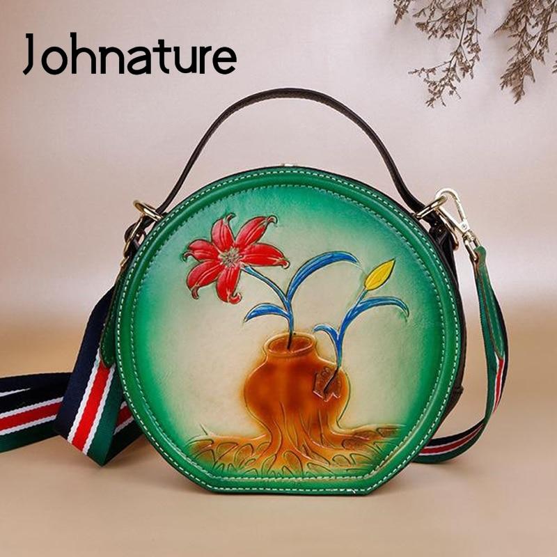 Johnature Vintage Embossed Women Bag 2020 New Genuine Leather Circular Floral Handbag Cowhide Shoulder Bags Ladies Mini Bags