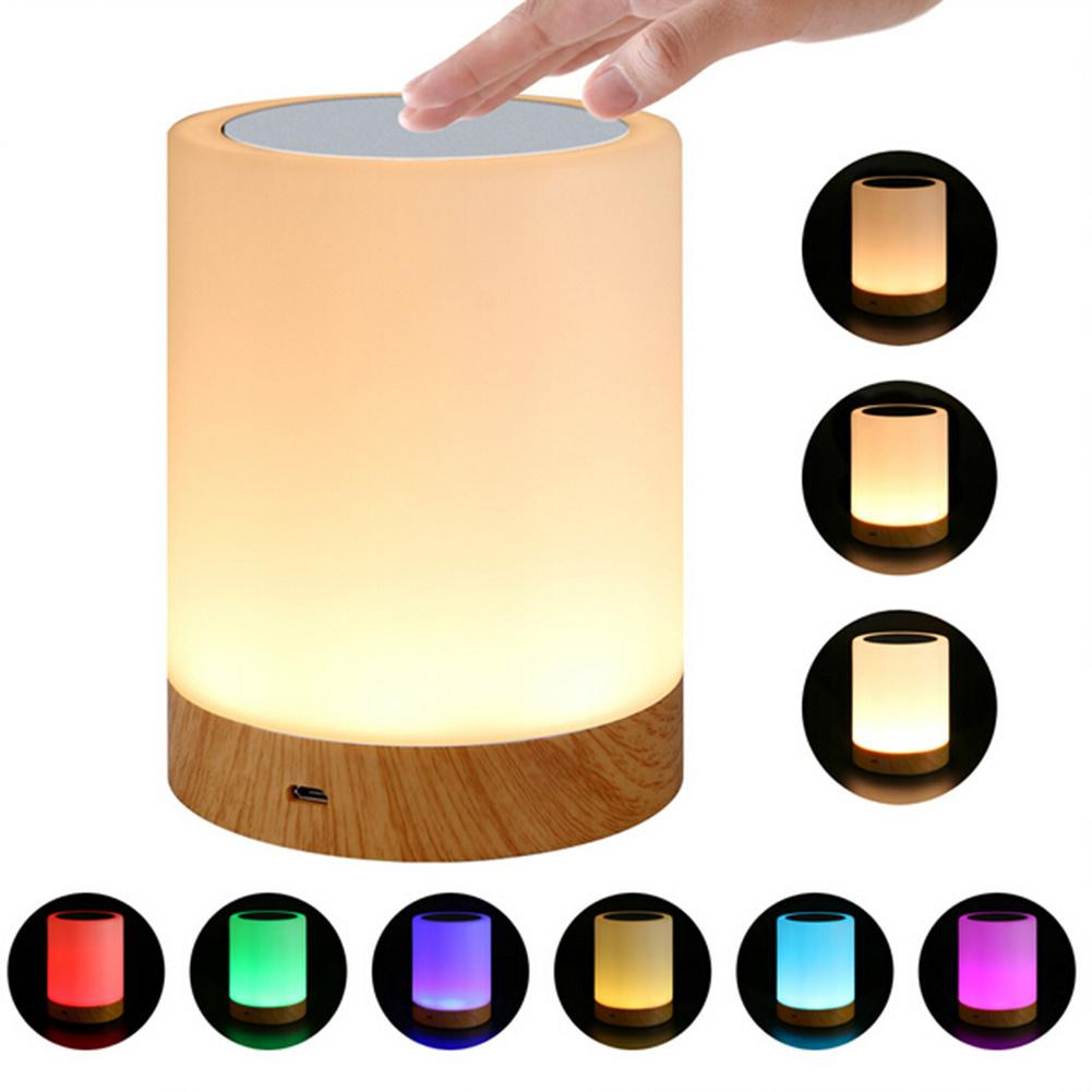 6 Colors Light-adjustable LED Colorful Innovative Grain Rechargeble Nightlight Table Bedside Nursing Lamp Breathing Touch Light