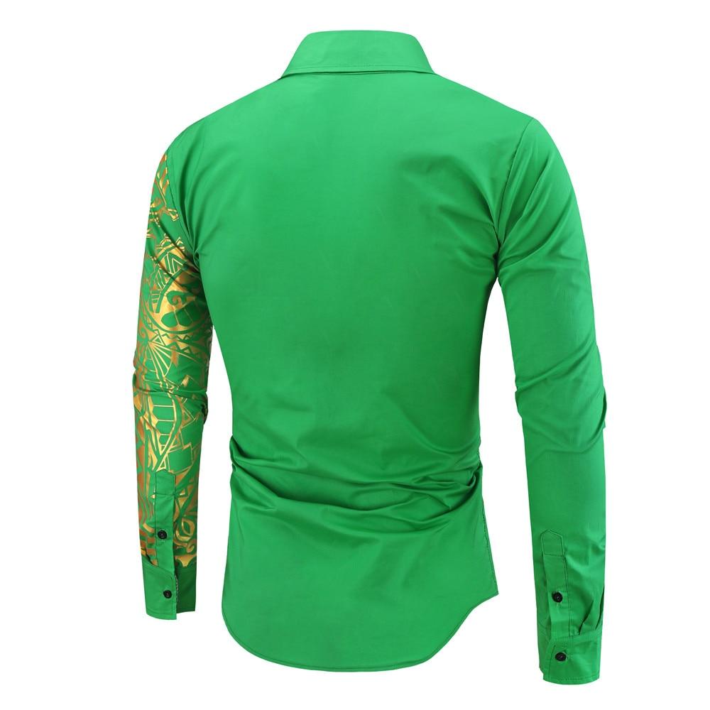 H20fe63eea37e463aa807b61b4f2c298a0 2021 Luxury Gold Black Shirt Men New Slim Fit Long Sleeve Camisa Masculina Gold Black Chemise Homme Social Men Club Prom Shirt