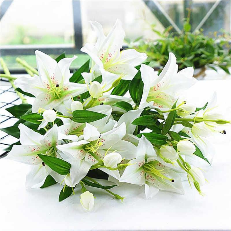 "8P מזויף ארוך גזע שושן (6 ראשים/חתיכה) 31.5 ""אורך סימולציה חבצלות ירוק עלה לחתונה הבית דקורטיבי פרחים מלאכותיים"
