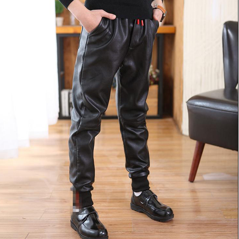 Children's winter trousers casual style Pu leather pants warm boys pants for 12Y black thick unisex mid kids trousers promotion 4