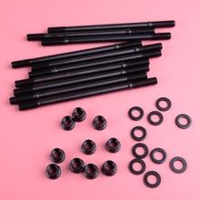 DWCX New Iron Head Stud Kit Black Fit For Honda Acura GSR B18C1 B18C5 B20VTEC LSVTEC 208-4303