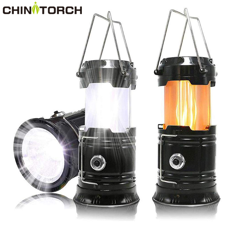 Portable Outdoor LED Flame Lantern Flashlights 3-in-1 Camping Lantern For Hurricane, Hiking  Collapsible AA Battery Tent Lamp