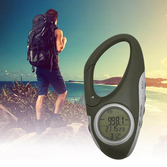 Electronic Altimeter Carabiner Altimeter Handheld Thermometer Outdoor Fishing Weather Forecast Mode Meter Outdoor Gadget