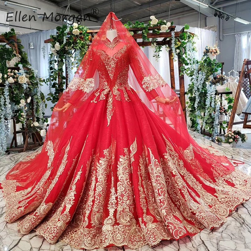 Red Vintage High Neck Muslim Wedding Dresses 2019 Lace Elegant Long Sleeves Real Photos Puffy Bride Ball Gowns Without Veils