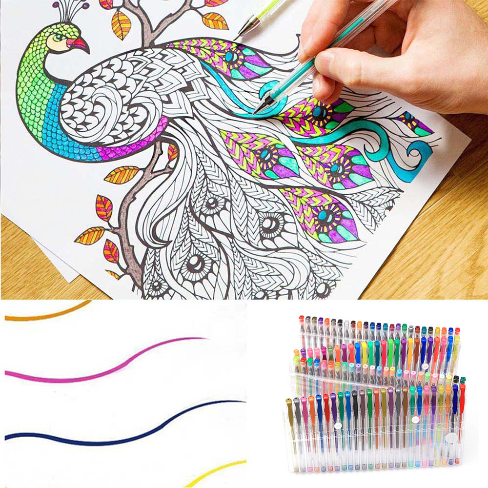 100pcs Multicolor Glitter Gel Pens For Children Adult Coloring Drawing Books Doodling Scrapbook Crafts Arts Markers Pen Set