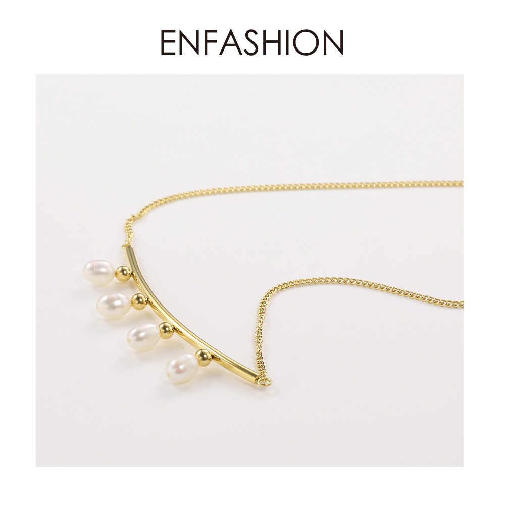 ENFASHION Pearl Choker naszyjnik kobiety złoty kolor ze stali nierdzewnej stalowy wisiorek naszyjniki prezenty świąteczne Femme moda biżuteria P193029