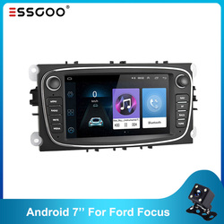Essgoo 7'' Android 8.1 Car Radios 2 Din Wifi BT Car Multimedia GPS Audio Player For Ford/Focus/S-Max/Mondeo 9/GalaxyC-Max White