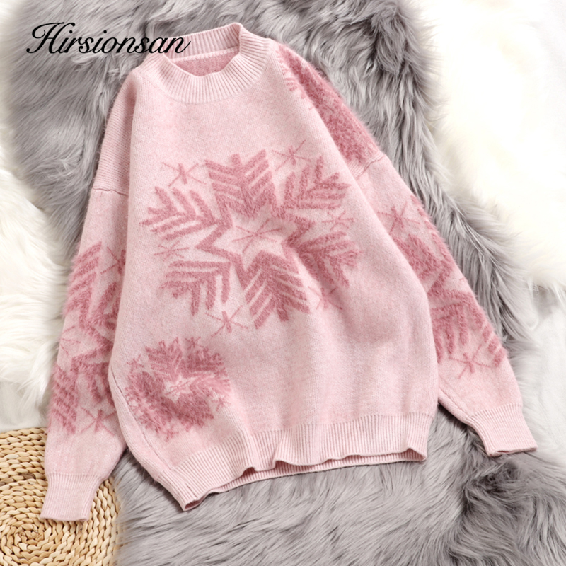 Hirsionsan Christmas Mohair Sweater Women Thicken Snowflake Pullover Winter Knitted Vintage Kawaii Soft Warm Casual Female Tops