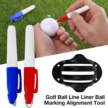 1 Set Golf Ball Alignment Line Marker Marks Template Draw Mark Positioning Ball Clip Putting Putt Linear Training Random Color image