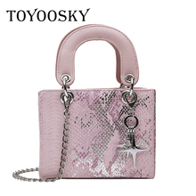TOYOOSKY Crossbody Bags For Women 2019 High Quality PU Leather Famous Brand Luxury Sequins Square Handbag Designer Sac A Main