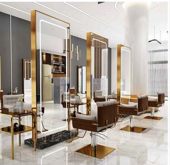 Barbershop mirror web celebrity simple floor-to-ceiling mirror cabinet wall wall hair salon mirror dedicated fashion