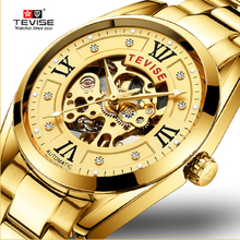 цена Tevise Men Mechanical Watches Hollow Skeleton Watch Business Clock Male Waterproof Wristwatch Montre Homme Relogio Automatico онлайн в 2017 году
