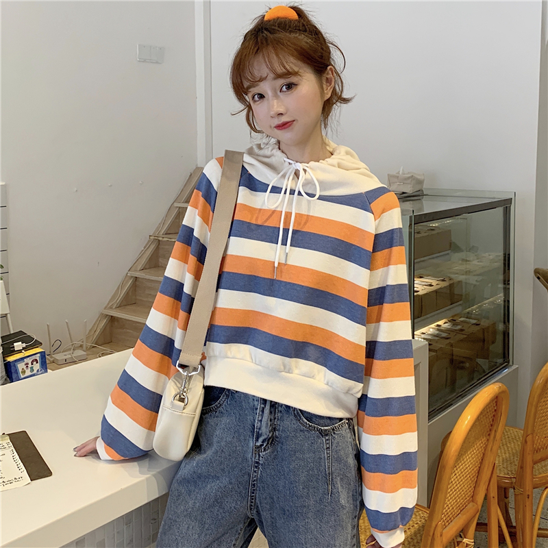 autumn style sweet long sleeve new hoodies and pullover striped hooded Drawstring crop top Women's Clothing Korean Ladies hot 16