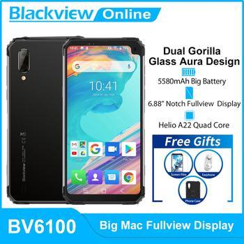 Blackview BV6100 Android 9.0 IP68 Waterproof Smartphone MTK6761 3GB+16GB 5580mAh NFC Mobile Phone 6.88
