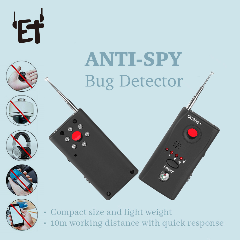 ET Anti <font><b>Spy</b></font> Bug Detector CC308 Full Range <font><b>Mini</b></font> Wireless <font><b>Camera</b></font> Hidden Signal GSM Device Finder Privacy Protect Security Monitor image
